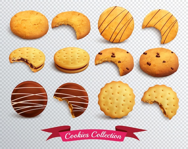 Realistyczny zestaw różnych postaci plików cookie w całości i ugryziony na przezroczystym tle