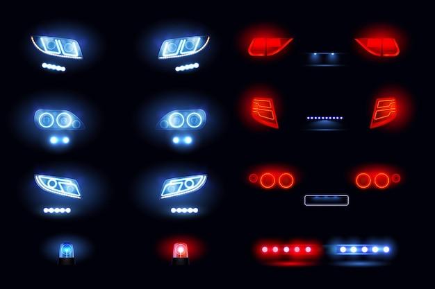 Realistyczny zestaw samochodowych świateł led z przednimi tylnymi reflektorami, widokami samochodu świecącymi w ciemności ilustracji wektorowych