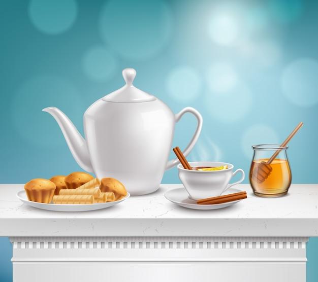 Realistyczny zestaw słoik miodu czajniczek