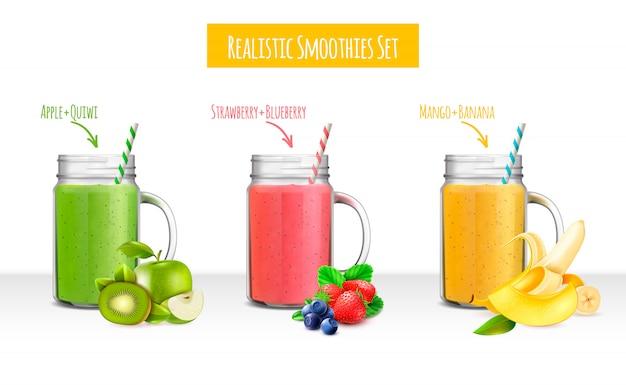 Realistyczny zestaw słoików smoothies