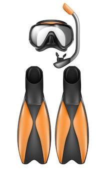 Realistyczny zestaw sprzętu nurka, maska do snorkelingu z fajką i płetwami