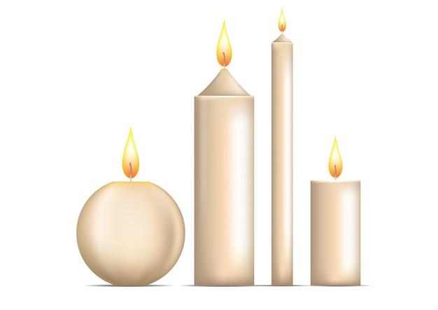 Realistyczny zestaw świec na białym tle.