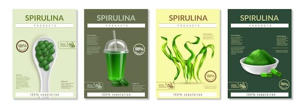 Realistyczny zestaw szablonów ulotki spirulina