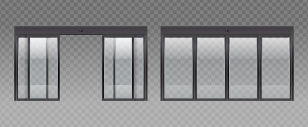 Realistyczny zestaw szklanych drzwi wejściowych z przezroczystym tłem i obrazami szklanych drzwi