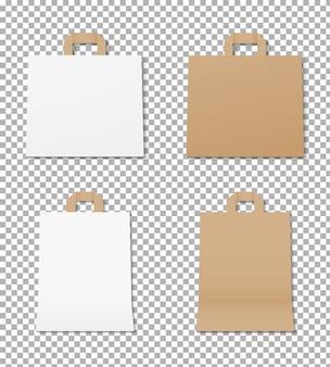 Realistyczny zestaw toreb papierowych. makieta pustej torby na zakupy. opakowanie papierowe torby na zakupy. makieta na białym tle. projekt szablonu