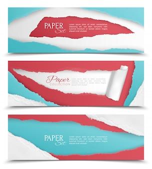 Realistyczny zestaw trzech poziomych abstrakcyjnych banerów z kolorowym rozdartym projektem papieru i polem tekstowym na białym tle