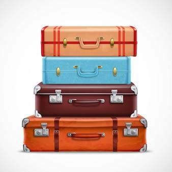 Realistyczny zestaw walizek bagażowych retro podróży