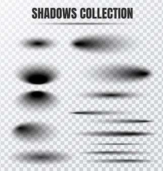 Realistyczny zestaw wektor efekt cienia oddzielne elementy na przezroczystym