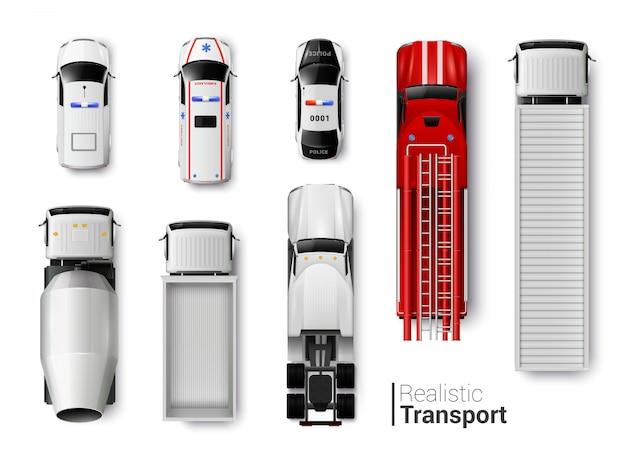 Realistyczny zestaw widok z góry pojazdów specjalnych na białym tle
