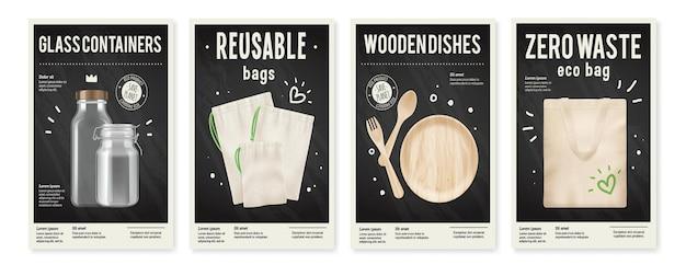 Realistyczny zestaw zerowych odpadów ilustracji pionowych plakatów