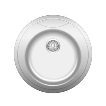 Realistyczny zlew kuchenny. umywalka metalowa okrągła z odpływem wody na białym tle.