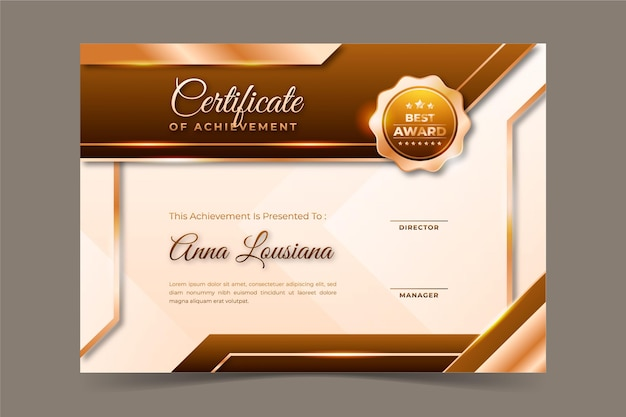 Realistyczny złoty certyfikat luksusu