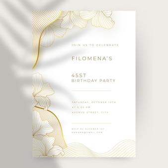 Realistyczny złoty luksusowy pionowy szablon zaproszenia urodzinowego