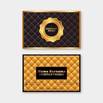 Realistyczny złoty luksusowy szablon poziomej wizytówki