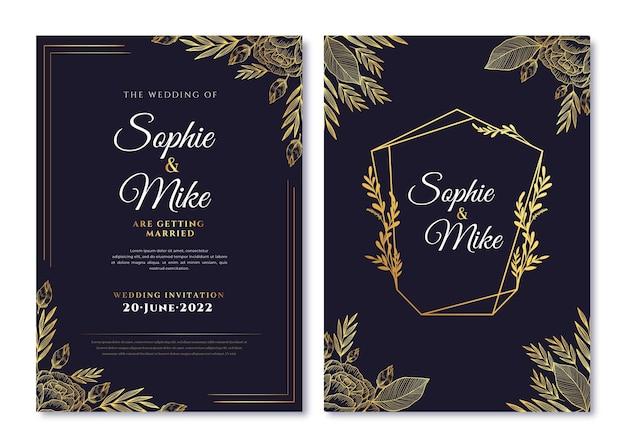 Realistyczny złoty luksusowy szablon zaproszenia ślubnego ze zdjęciem