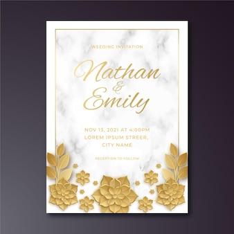 Realistyczny złoty luksusowy szablon zaproszenia ślubnego