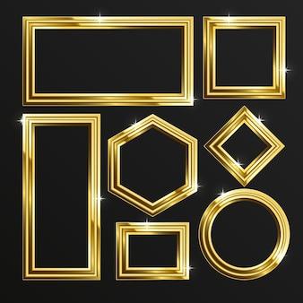 Realistyczny złoty luksusowy zestaw ramek