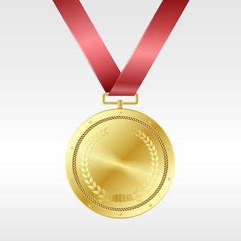 Realistyczny złoty medal na czerwonej wstążce: nagroda za pierwsze miejsce w konkursie. trofeum w postaci złotej nagrody