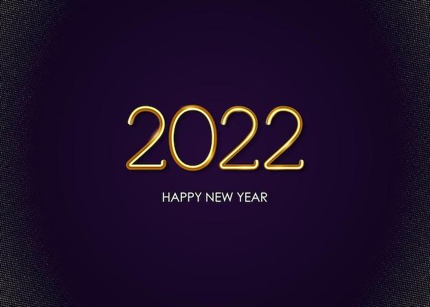 Realistyczny złoty metal 2022 szczęśliwego nowego roku na tle vector
