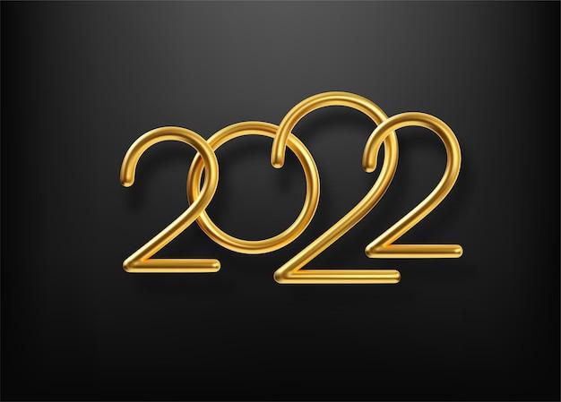 Realistyczny złoty metalowy napis 2022. złota kaligrafia nowy rok 2022 napis na czarnym tle. element projektu plakatu reklamowego, ulotki, pocztówki. ilustracja wektorowa eps10