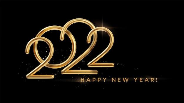 Realistyczny złoty napis metalowy 2022. złota kaligrafia nowy rok 2022 napis na czarnym tle. element projektu plakatu reklamowego, ulotki, pocztówki. ilustracja wektorowa eps10