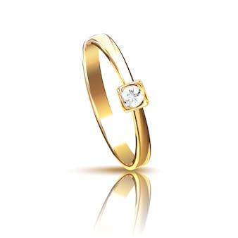 Realistyczny złoty pierścionek z brylantem