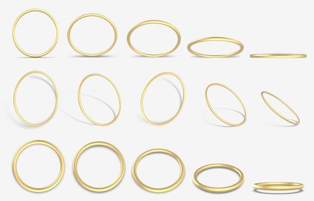 Realistyczny złoty pierścionek. złote ozdobne geometryczne okrągłe pierścienie, zestaw ikon 3d żółte złote metalowe pierścienie ilustracja. złoty pierścionek realistyczny, jasna biżuteria, luksusowe świecące