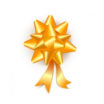 Realistyczny złoty prezenta łęk z faborkami odizolowywającymi na bielu