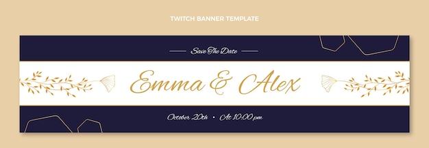 Realistyczny złoty ślubny baner twitch