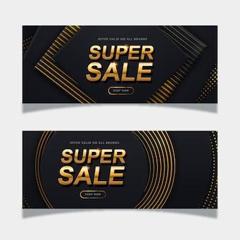Realistyczny złoty szablon transparent sprzedaży