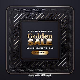 Realistyczny złoty sztandar sprzedaży