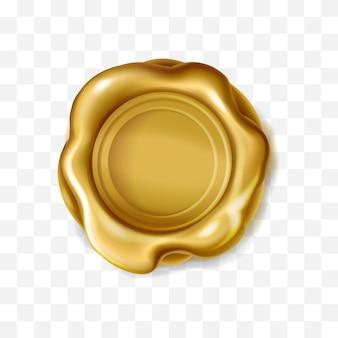Realistyczny złoty woskowy znaczek na przezroczystym tle złota pieczęć królewska na etykietę listową d eli...