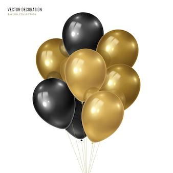 Realistyczny złoty z czarną wiązką balonów helowych na białym tle