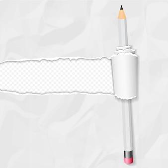 Realistyczny zmięty papier z zwiniętą krawędzią i ołówkiem na białym tle