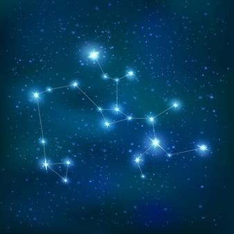 Realistyczny znak zodiaku konstelacji strzelca z dużymi i małymi gwiazdami na nocnym niebie