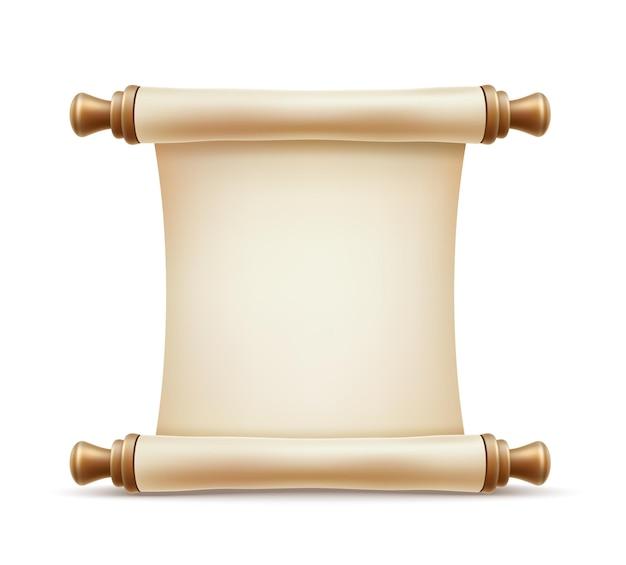 Realistyczny zwój papieru. archiwalne dokumenty, symbol ukończenia studiów i edukacji. zawiń pusty pergamin, stary tradycyjny certyfikat, szablon dokumentu.