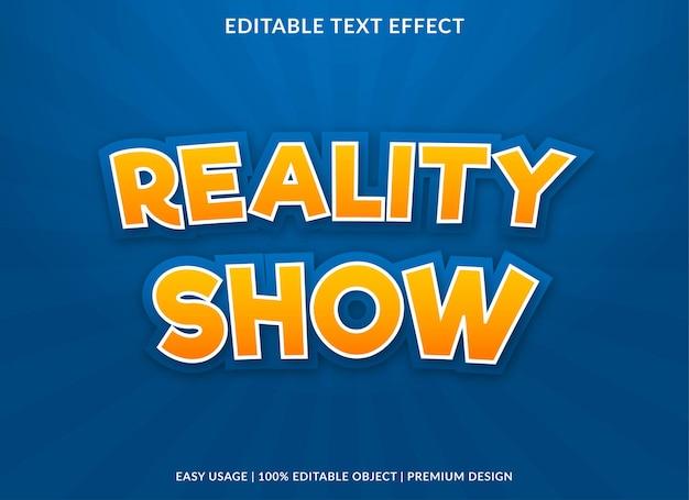 Reality show szablon efektu tekstowego w stylu premium