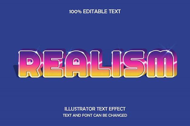 Realizm, 3d edytowalny efekt tekstowy fioletowy różowy żółty stopniowanie nowoczesny styl cienia