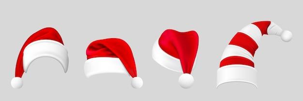 Reatystyczne czapki świąteczne. kolekcja czapek świętego mikołaja w stylu realizmu z dzwoneczkami pod różnymi kątami. wakacyjne nakrycia głowy lub symbol bożego narodzenia na szarym tle ilustracji.