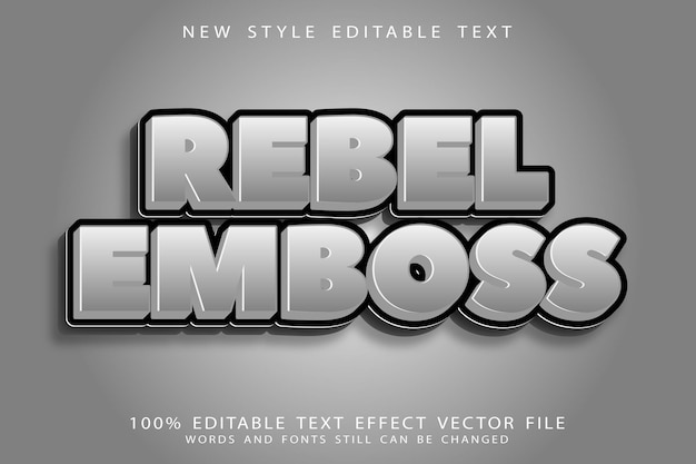 Rebel emboss edytowalny efekt tekstowy emboss nowoczesny styl