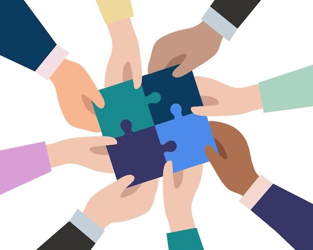 Ręce biznesmenów łączą kawałki puzzli w jedną całość. pojęcie udanej pracy zespołowej w biznesie. partnerstwo i współpraca. płaska konstrukcja wektor.