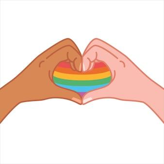 Ręce co symbol serca. gest w kształcie serca, przesłanie miłości. pokazując, że cię kocham. na białym tle wektor. wspieraj dumę lgbt. kolorowe strony. wolność. miłość. serce. streszczenie tęcza.