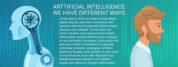 Ręce człowieka i robota. koncepcja przyszłości. ilustracja może służyć do projektowania banerów biznesowych sztucznej inteligencji.