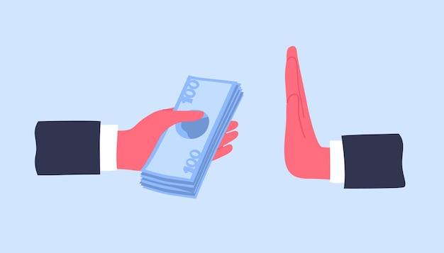 Ręce dające banknoty pieniędzy lub oferujące łapówkę i odmawiające jej przyjęcia. koncepcja walki z przekupstwem i przeciwdziałaniem korupcji. kolorowa ilustracja kreskówka wektor w nowoczesnym stylu mieszkania