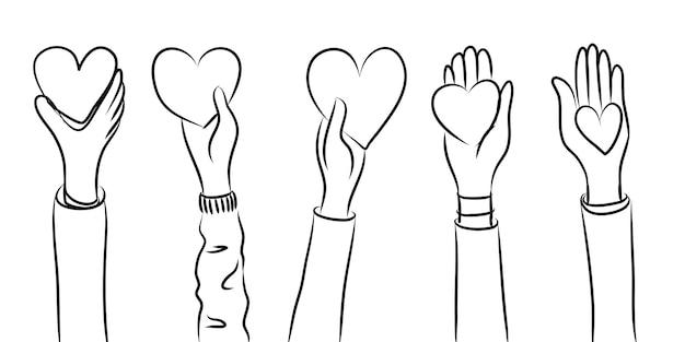 Ręce do góry, ręce klaszczące z miłością. daj i dziel się swoją miłością z ludźmi. pojęcie dobroczynności i darowizny. doodle ilustracja wektorowa