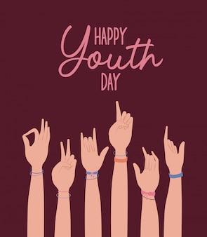 Ręce do góry szczęśliwy dzień młodzieży, ilustracja tematu młodych wakacji i przyjaźni
