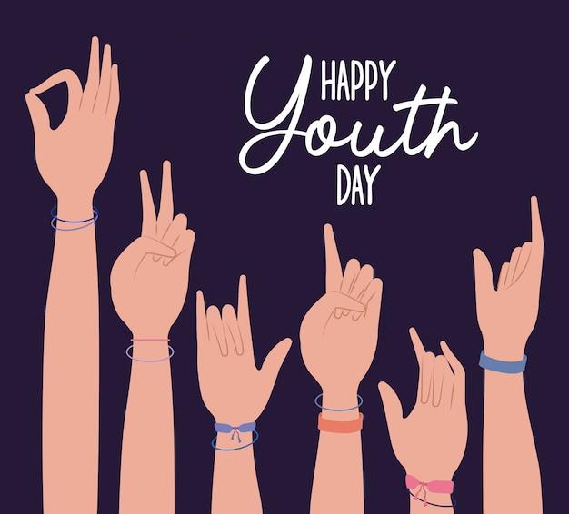 Ręce do góry szczęśliwy dzień młodzieży