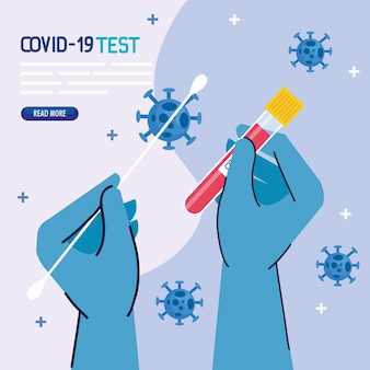 Ręce do testowania wirusa covid 19 w rękawiczkach z wacikiem i probówką z motywem wirusa ncov i koronawirusa