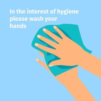 Ręce i mokra chusteczka