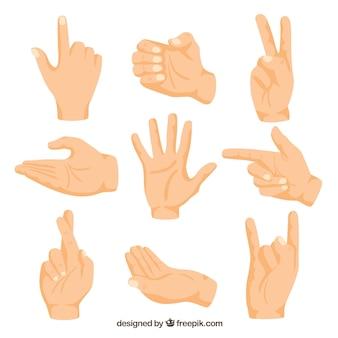 Ręce kolekcja z różnych pozach w stylu wyciągnąć rękę